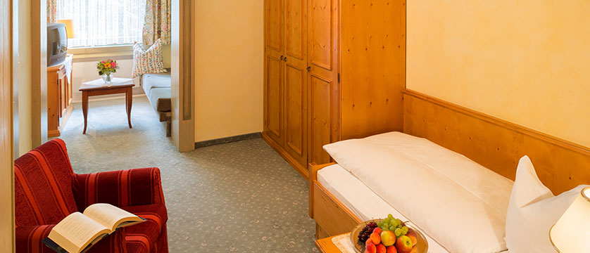 Chalet Hotel Elisabeth, Lech, Austria - Room 11 Single-Twin (single bed plus a single sofa-bed in alcove) with shower,wc.jpg